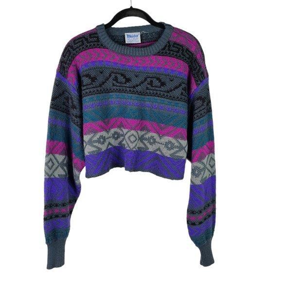 VTG Meister Sweater Large Purple Fair Isle Cropped